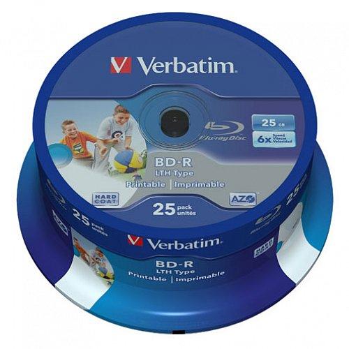 Details: Blu-Ray Disc Verbatim BD-R SL LTH Type - 25GB 6x - Wide Printable 25 Pack Spindel - No ID Brand - Single-Layer