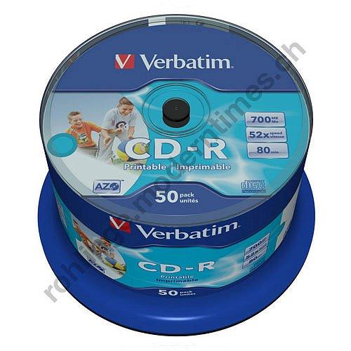 Details: Verbatim 52x CD-R 700 MB, Wide Photo Printable Surface, ohne Logo, Inkjet, 50-er Spindel