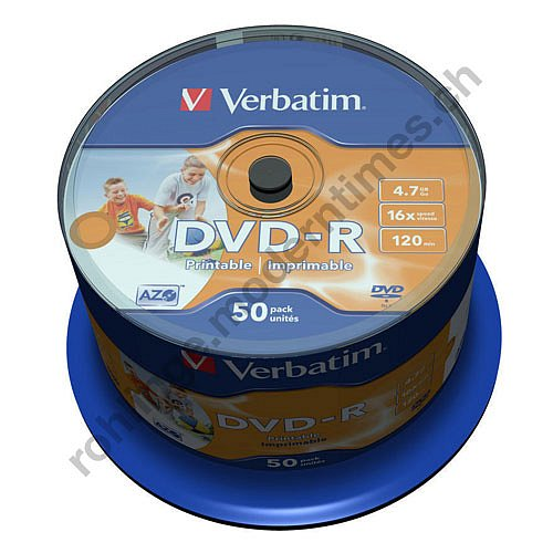 Details: Verbatim DVD-R 16x 4.7 GB Inkjet Wide Photo Printable Surface Unbranded, 50-er Spindel