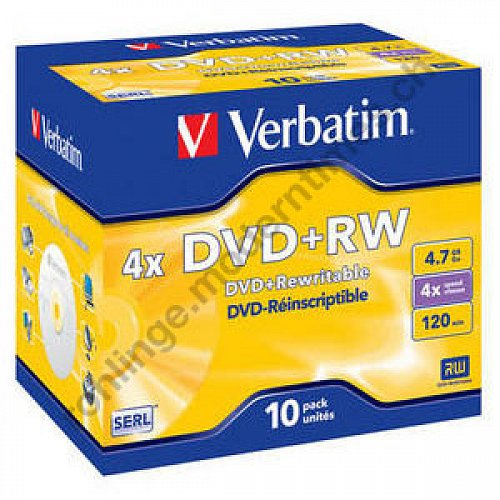 Details: Verbatim DVD+RW 4x - 4.7 GB, Scratch Resistant Surface, Jewel Case, 10-er Pack