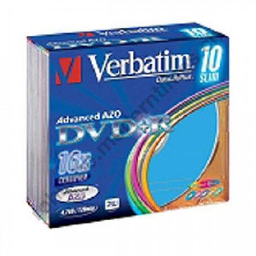 Details: Verbatim DVD+R Advanced AZO+ 16x 4.7 GB verschieden farbige Oberfläche, Slim Case, 5-er Pack