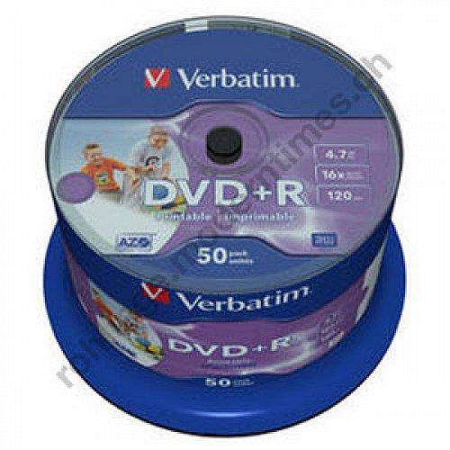 Details: Verbatim DVD+R 16x 4.7 GB Inkjet Photo fullprintable ohne Logo, 50-er Spindel