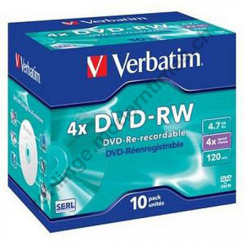 Details: Verbatim DVD-RW 4x 4.7 GB for General Use, Scratch Resistant Surface, Jewel Case, 10-er Pack